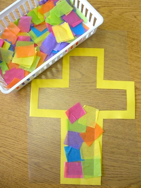 stained glass Easter cross kids craft